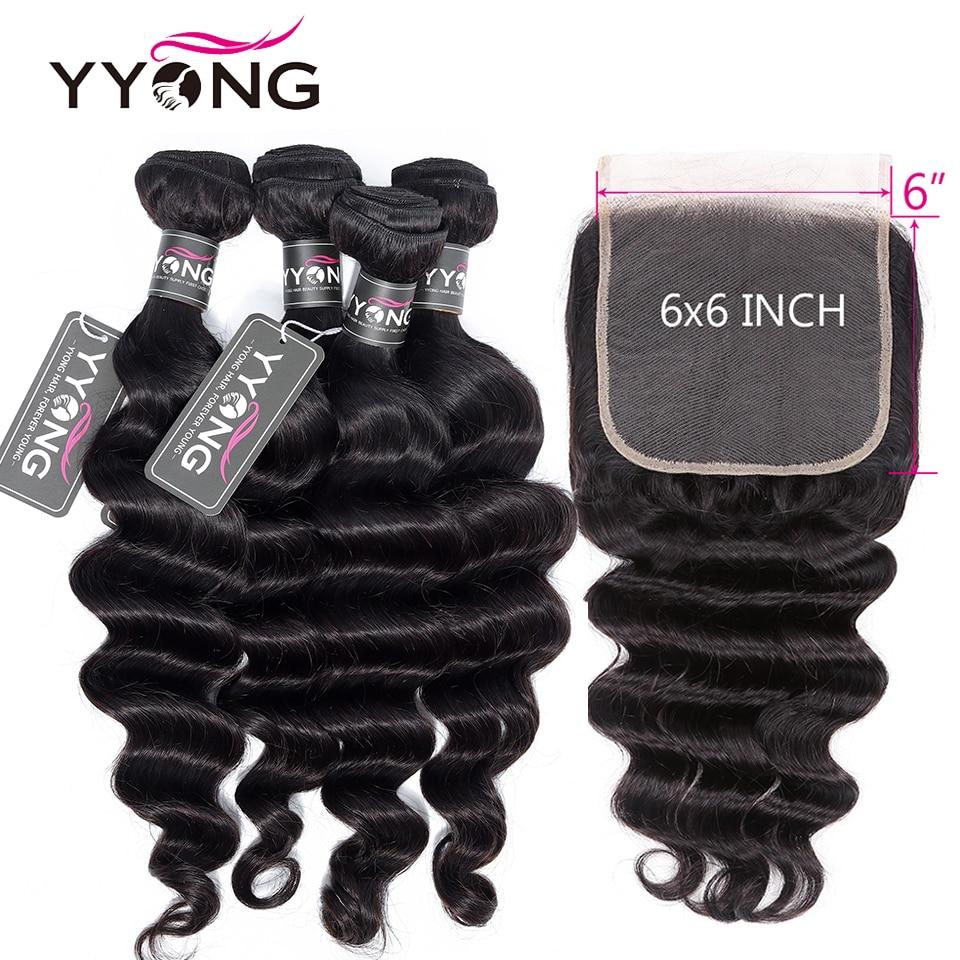 Свободные волнистые 4x4 и 6x6 Пряди с пучком человеческих волос 3/4 пряди с зажимами бразильские пряди волос Remy с кружевной застежкой