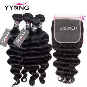 Yyong Loose Deep Wave 6x6 Closure With Bundle Human Hair 3/4 Bundles With Closures Brazilian Remy Hair Bundles With Lace Closure