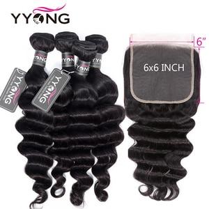 Yyong Loose Deep Wave 6x6 Closure With Bundle Human Hair 3/4 Bundles With Closures Brazilian Remy Hair Bundles With Lace Closure
