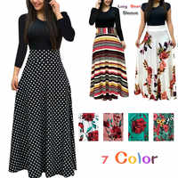 Moda maxi w stylu casual sukienka Plus rozmiar artystyczny nadruk Vestidos Mujer sukienka Boho jesień kobiety sukienka eleganckie długie suknie Vestido 5XL