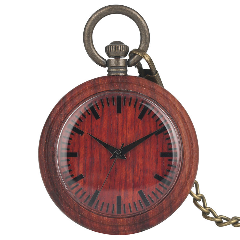 Retro Red Ebony Wooden Pocket Watch Lady Detachable Metal Rough Chain Men Pendant Watch Gift Business Warcraft Relogio De Bolso