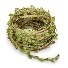 Имитация зеленых листьев, тканая пеньковая веревка, сделай сам, для свадьбы, дня рождения, свадьбы, украшение из ротанга, подарочная упаковка букета, веревка, 5 мм, 1y 5y