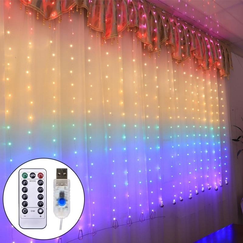 210LEDs Rainbow Curtain Light Fairy Lights Bedroom Home Decoration Window Wedding Party Holiday Lighting Fairy String Light