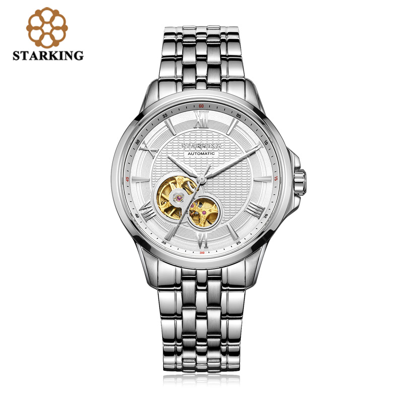 <font><b>STARKING</b></font> Luxury Brand 2019 <font><b>Automatic</b></font> Mechanical Watches Men Waterproof Tourbillon Watch Calendar Leather Gold Wristwatch AM0183 image