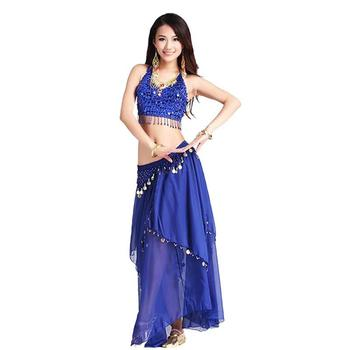 Women belly dacing clothing 5 flowers top+gold coins skirt 2pcs belly dance suit for lady belly dance clothes belly dance top ats tribal belly dance top lace choli lantern sleeve top women s belly dance costume fqq03