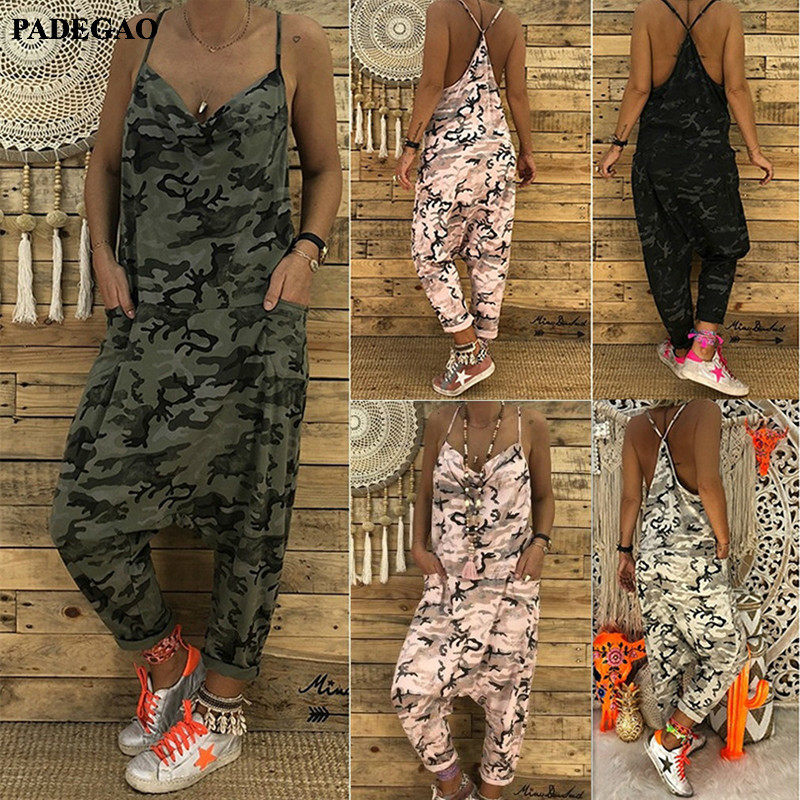 PADEGAO Summer Women Sexy Jumpsuits Camouflage Print Spaghetti Strap V Neck Casual Sleeveless Military Streetwear Rompers PDG110