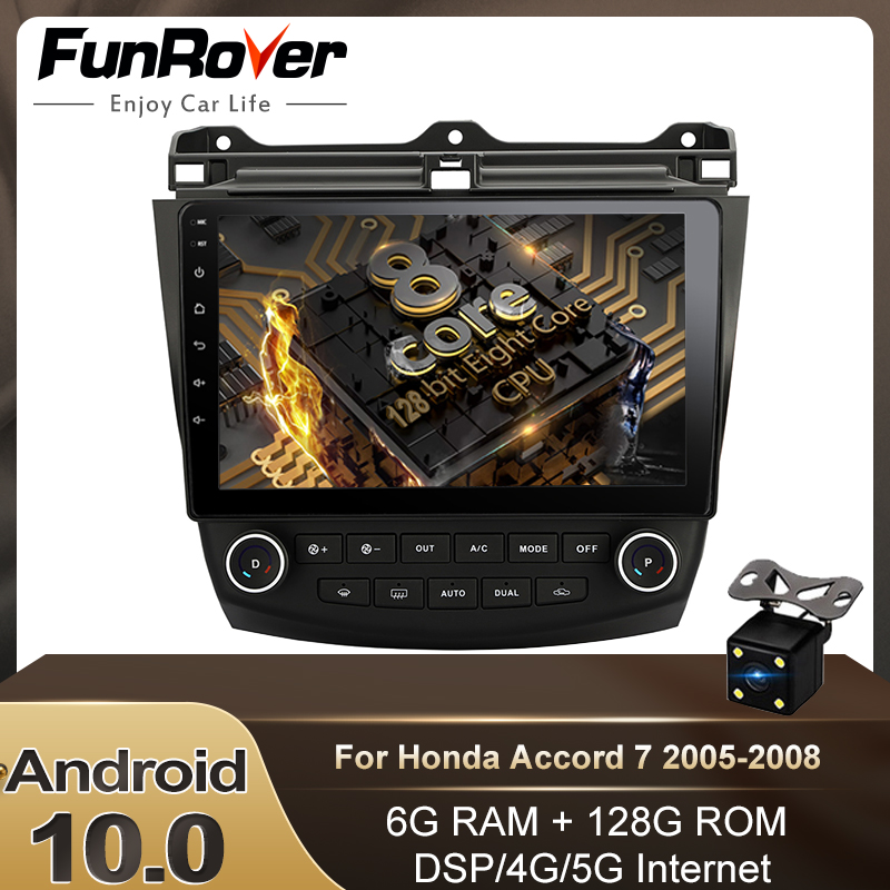 Funrover 128G DSP <font><b>Android</b></font> 10.0 2 din dvd For <font><b>Honda</b></font> <font><b>Accord</b></font> 7 CM UC CL 2005-2008 Car <font><b>Radio</b></font> Multimedia Video Player Navigation GPS image