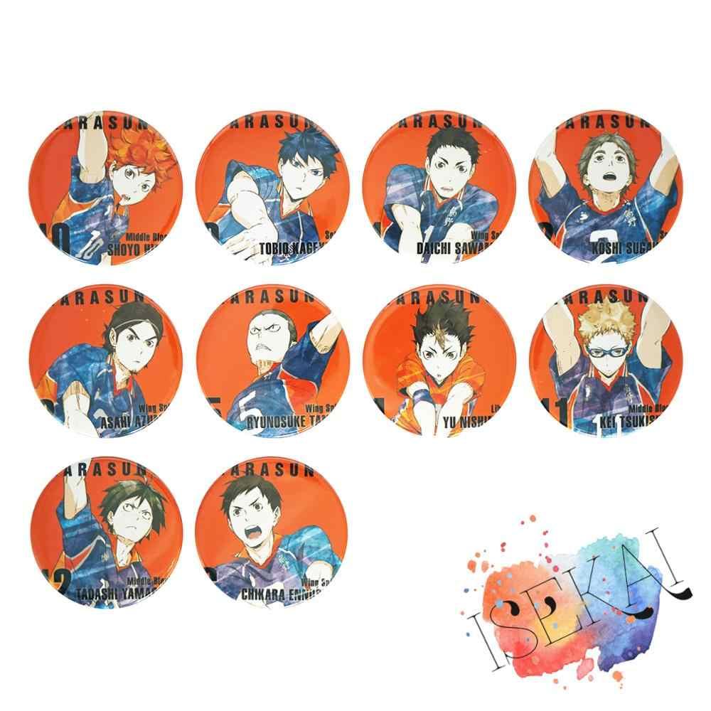 Haikyu!! Anime Huy Hiệu Shouyou Hinata Kageyama Tobio Tsukishima Kế Nishinoya Yuu Yamaguchi Tadashi Haikyuu Kim Loại Huy Hiệu Cài Áo