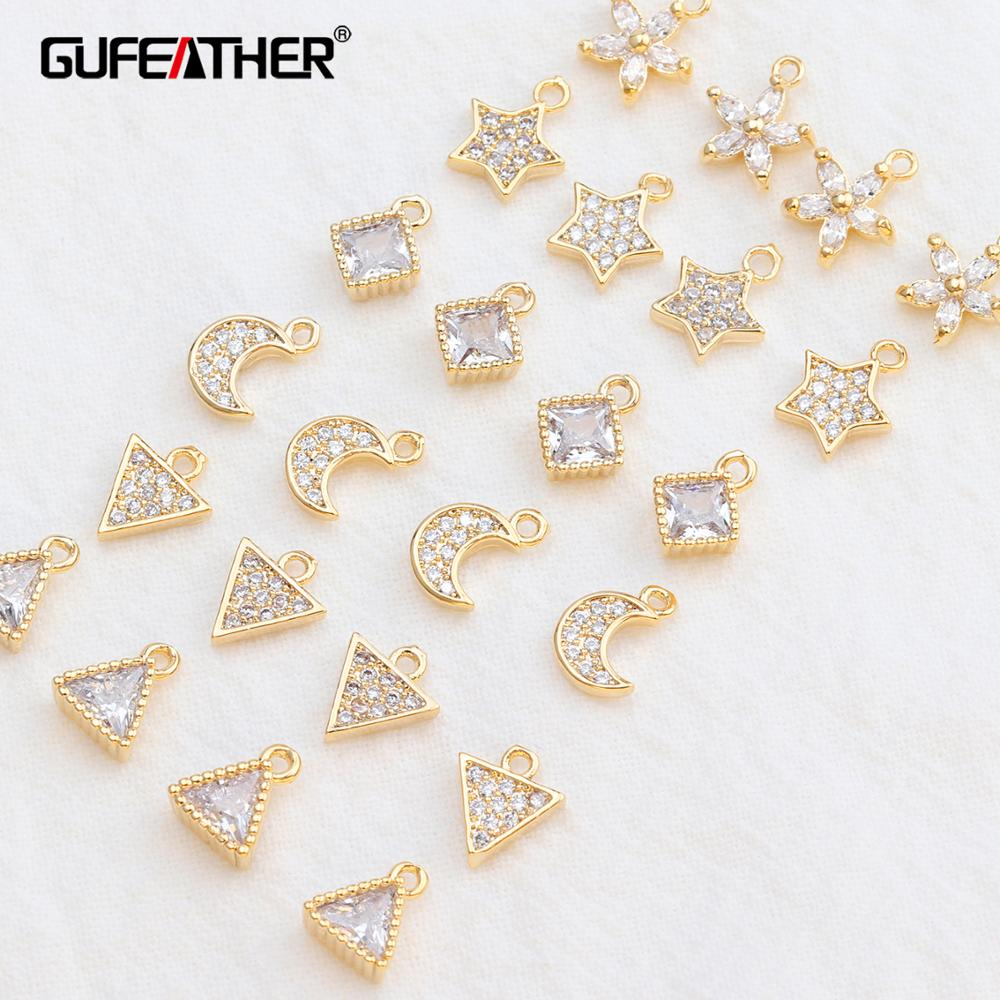 GUFEATHER M536,18k Gold Plated,zircon,jewelry Accessories,handmade,jewelry Making,jewelry Findings,diy Earring Pendant,10pcs/lot