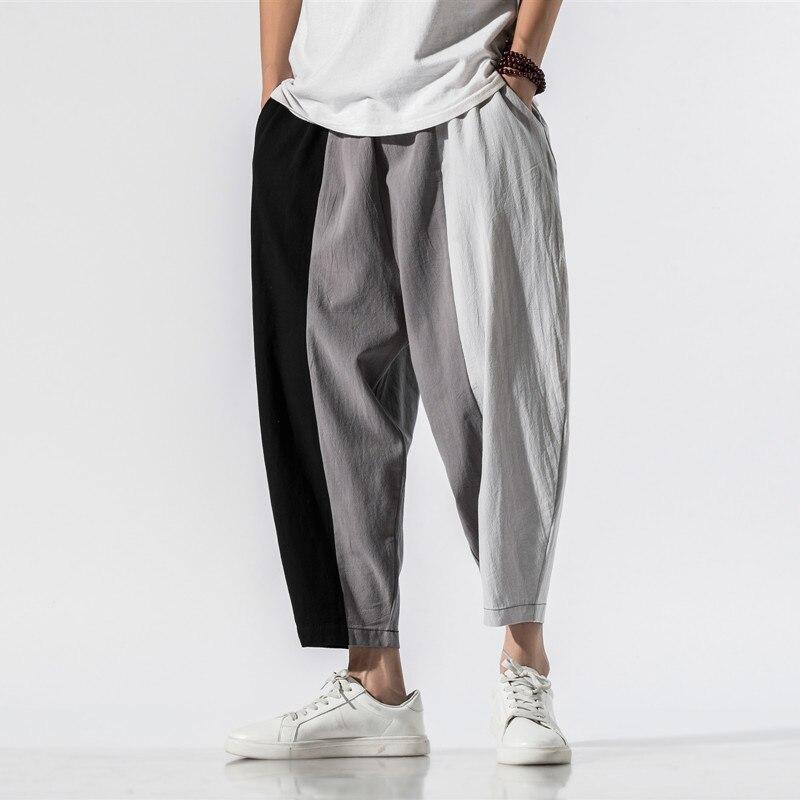 Men Pants Men's Wide Crotch Harem Pants Loose Large Cropped Trousers Wide-legged Bloomers Baggy 2020 Ankle Length Men Sweatpant