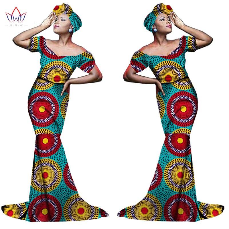 Африканский хлопчатобумажный материал Платья Для Женщин Дашики традиционная Анкара Мода Африка одежда с коротким рукавом Анкара платья WY963 - Цвет: 9