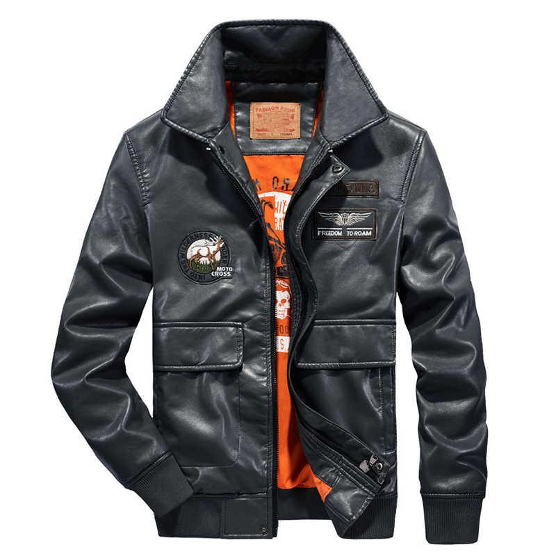 2019 Sonbahar erkek bombacı ceket nakış beyzbol MA-1 uçuş pilot ceket erkekler PU faux deri ceket erkekler artı boyutu 4XL