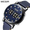 MEGIR для мужчин s часы лучший бренд класса люкс кварцевые спортивные часы для мужчин кожа Военная Униформа наручные часы Relogio Masculino Reloj Hombre