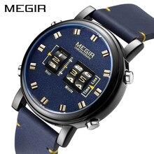 MEGIR Mens นาฬิกาแบรนด์หรูนาฬิกาควอตซ์นาฬิกาหนังผู้ชายนาฬิกาข้อมือทหาร Relogio Masculino Reloj Hombre