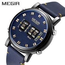 Megir relógio masculino luxuoso quartzo, esportivo de couro, militar