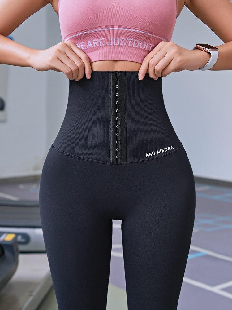 Fitness women corset hip lift postpartum high waist tights yoga pants Waisted Workout leggings Women Gym Running Training Tights|Yoga Pants| - AliExpress