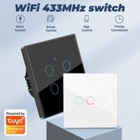 Interruptor táctil inteligente para el hogar, pulsador de pared con WiFi, 3/4 MHZ, 1/2/433 entradas, para Alexa y Google Home, color rosa, gris, blanco y negro, envío directo