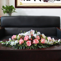 Customize Podium Bouquet Meeting Table Flower Business Artificial Fake Rose Lily Flowers Wedding Party Decor Rostrum Front Desk