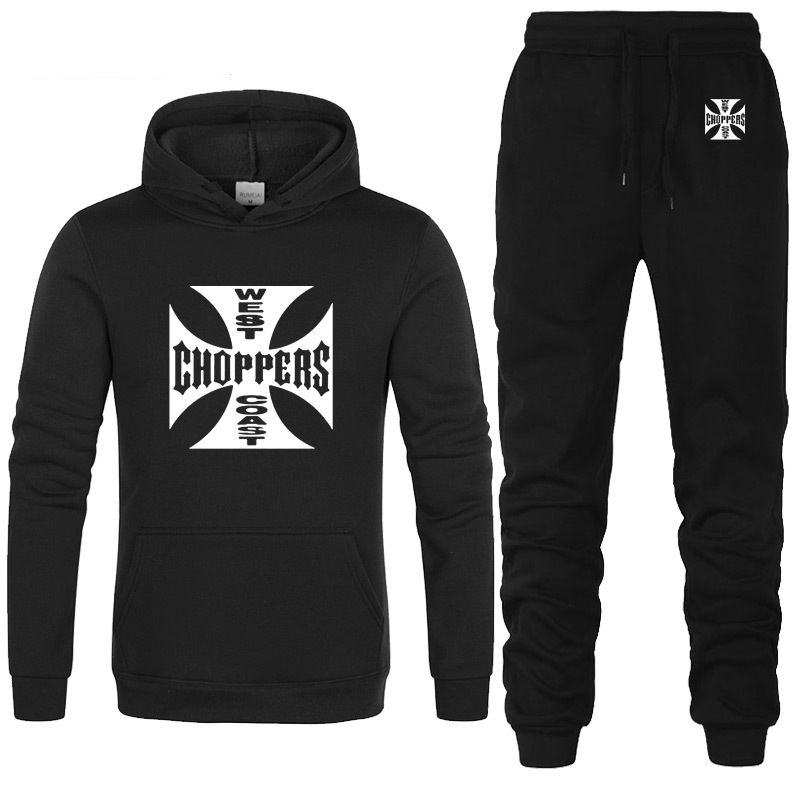 West Coast Choppers Printed Hoodies Men Streetwear Fleece Hooded Hip Hop Harajuku Unisex Sweatshirt Men Hoodies Pants Suit 2Pcs