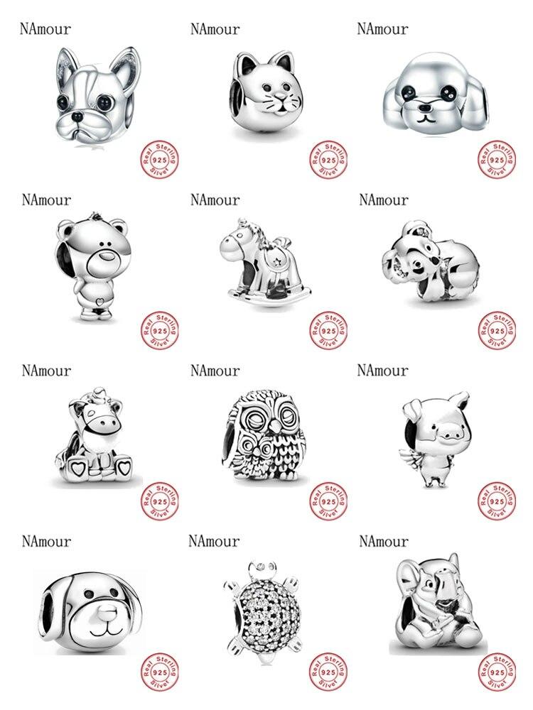 New theo bear pig animal kingdom cat dog unicorn Bead fit original Pandora charms silver 925 Bracelet for women fashion jewelry(China)