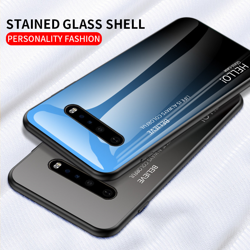 Colorful Tempered Glass Case For LG V60 Glossy Stained Gradient Full Cover For LG G6 G7 G9 G8 Thin Shockproof Coque Capa Fundas