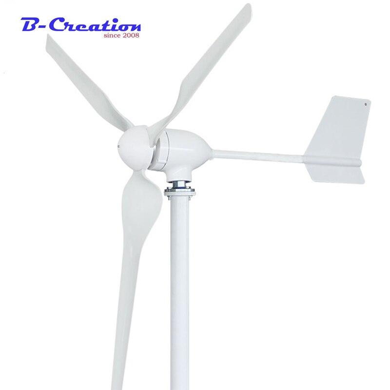 Générateur d'éoliennes 800W 12v + contrôleur de vent 12V 24V 48V 3 lames générateur d'aimant Permanent d'axe Horizontal pour la maison Stree