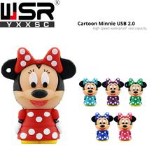 cute usb2.0 pen drive 32gb Minnie Mickey high speed usb memory stick 128gb real capacity disk on key 8gb 16gb 64gb free delivery