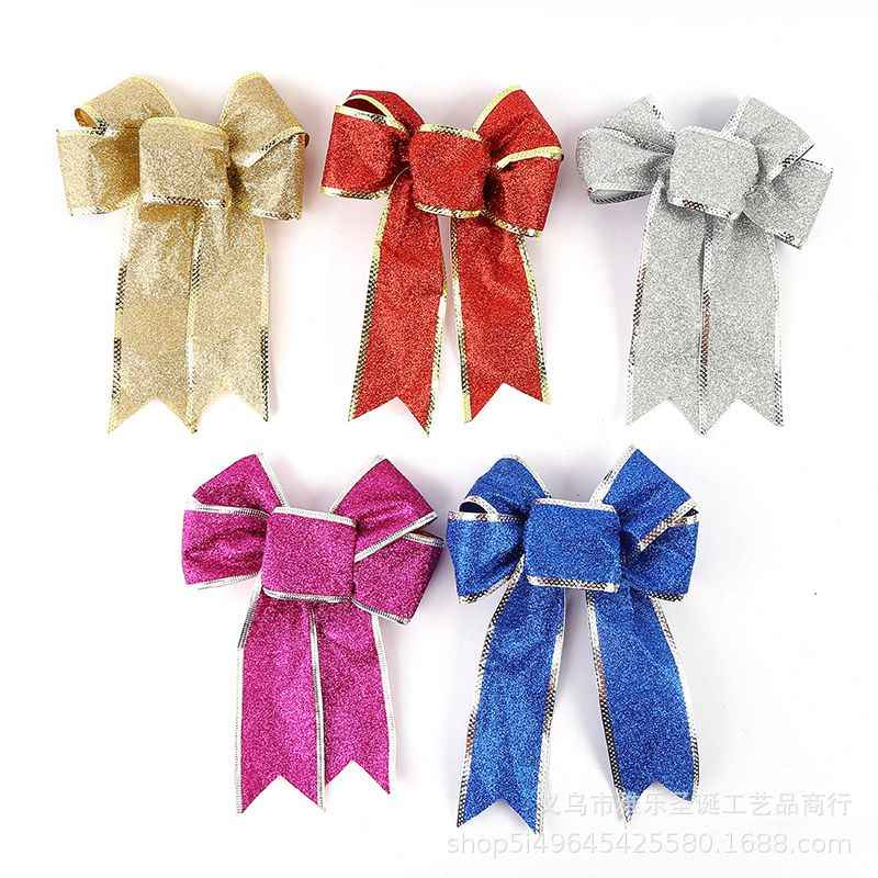 Christmas Decoartive Bows Christmas Tree Decorations Hanging Bowknot Pendant Drop Ornaments Wedding Xmas Party Supplies Navidad