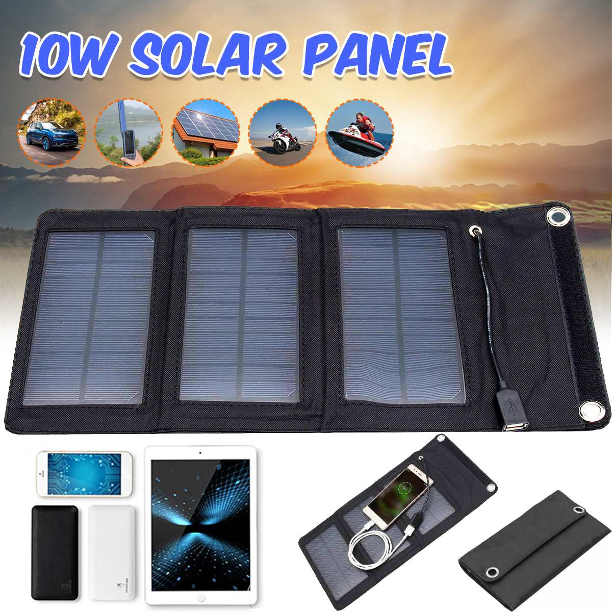 <font><b>10W</b></font> <font><b>5V</b></font> Folding <font><b>Solar</b></font> <font><b>Panel</b></font> Charger Foldable <font><b>Solar</b></font> <font><b>Panel</b></font> Power Waterproof Charger Mobile Power Bank for Phone Battery USB Port image