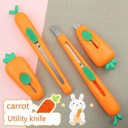 1 sztuk Mini tarka Cartoon marchew Utility noże auto chowany nożyk do listów|Noże|   -