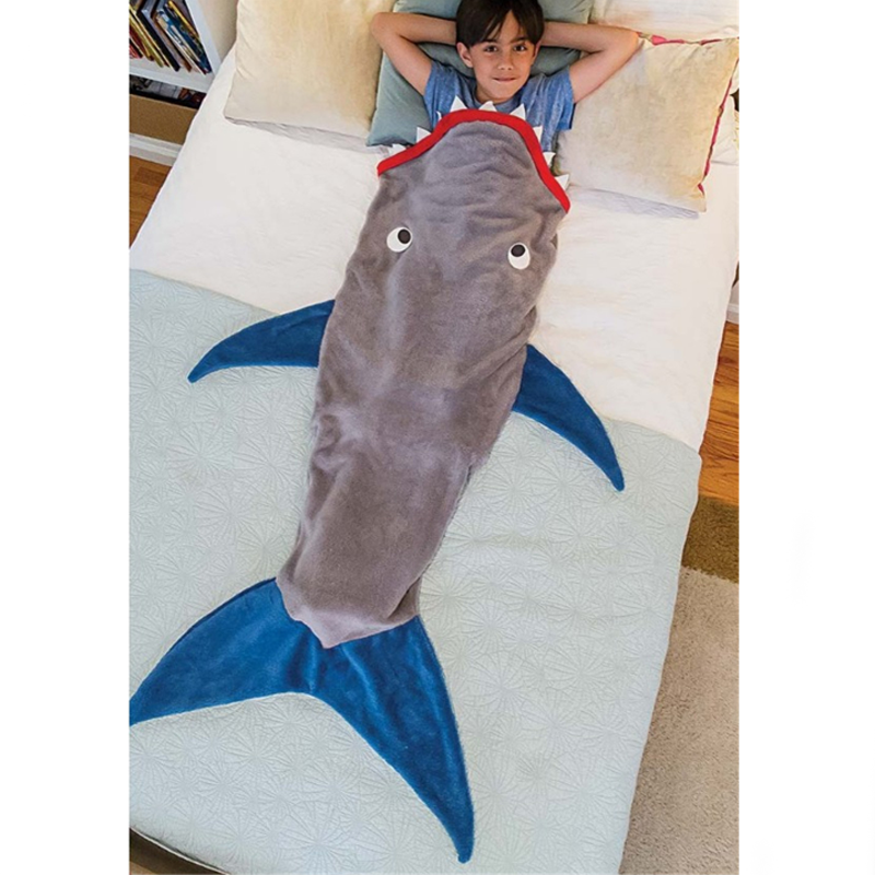 Hot Sale Shark Mermaid Tail Blanket Air Sofa Throw Rugs Fleece Travel Sleeper Stroller Children Sleeping Bag Girls/Boys Blankets image