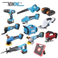 NEWONE 20V Cordless Power Tools Angle grinder, Reciprocting saw, Drill, Orbital Polisher, Oscillating tool, Inflator & Deflator