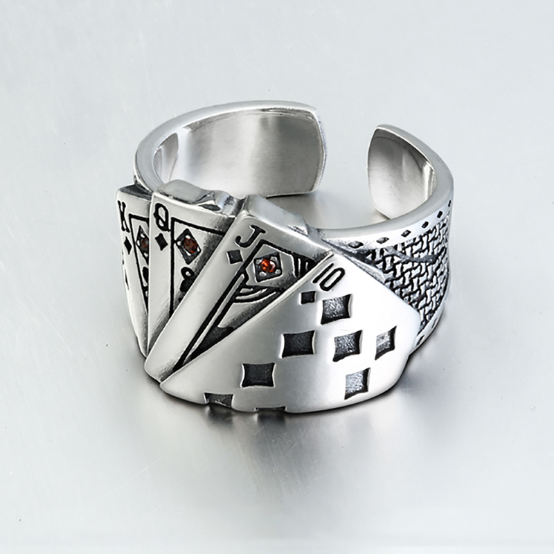 Playing Card Chunky Cubic Zirconia Engraved Adjustable 925 Sterling Silver Ring For Men  Vintage Wholesale Jewelry