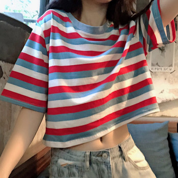 цена на Fashion t shirt women O-Neck Short Sleeve Ladies Rainbow Striped Tops Loose Short Shirt Korean Style футболка женская 2020