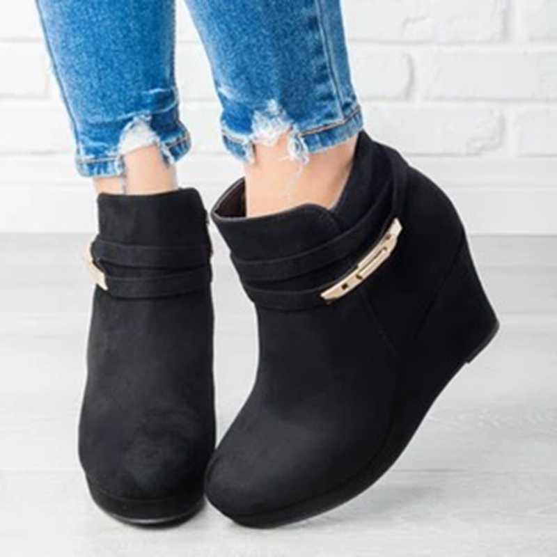 WENYUJH kama çizme yüksek topuklu kadın yarım çizmeler yuvarlak ayak Zip ayakkabı sıcak platformu kadın çizme takozlar ayakkabı kadın kış