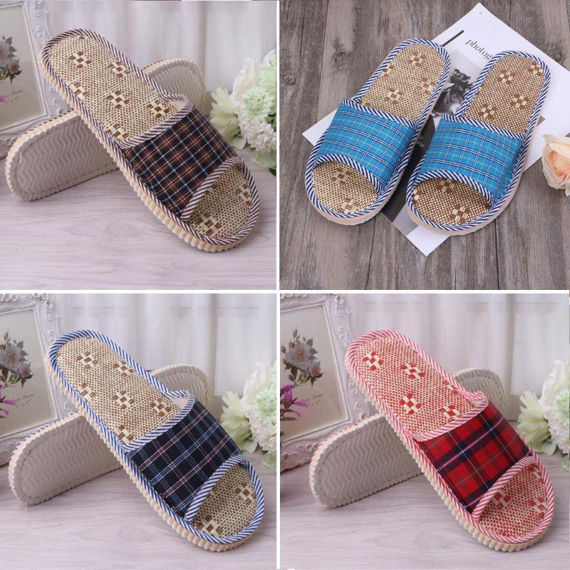 2019 Unisex Linen Flax Plaid Home Flat Slipper Indoor Cozy Open Toe Scuffs Slip-on Flat Slipper Men Women Shoes Fashion New Shoe