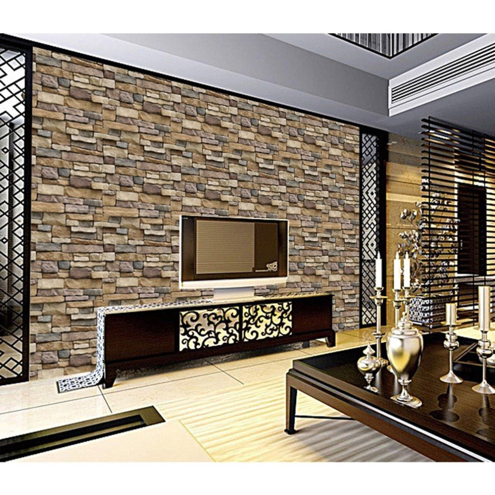 Simple Rustic Stone Brick Removable PVC Wall Roll Living Room Bedroom Restaurant Background Loft 3d Wall Paper Background Wall