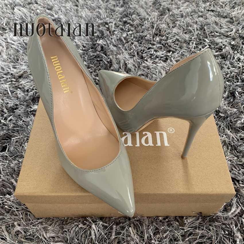 แบรนด์รองเท้าผู้หญิง 12 ซม./10 ซม./8 ซม.รองเท้าส้นสูงผู้หญิงปั๊ม Stiletto Thin Heel รองเท้า pointed Toe รองเท้าส้นสูงรองเท้าแต่งงาน