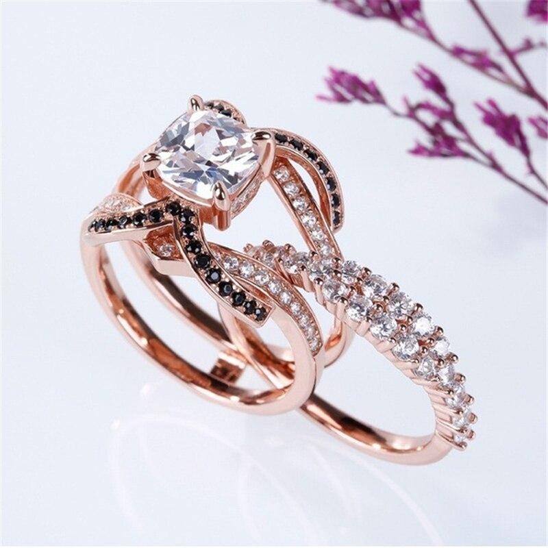 18K Rose Gold Diamond Ring for women 1 Carat Obsidian Bague Jewelry Wedding Women Anillos Garnet Bizuteria Gemstone 925 rings