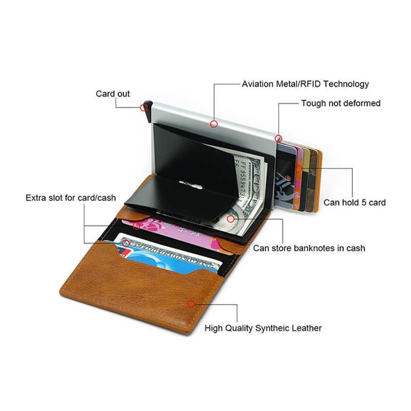 Dienqi RFID Pemegang Kartu Dompet Pria Tas Uang Pria Vintage Hitam Dompet Pendek 2019 Kulit Slim Dompet Mini Dompet tipis