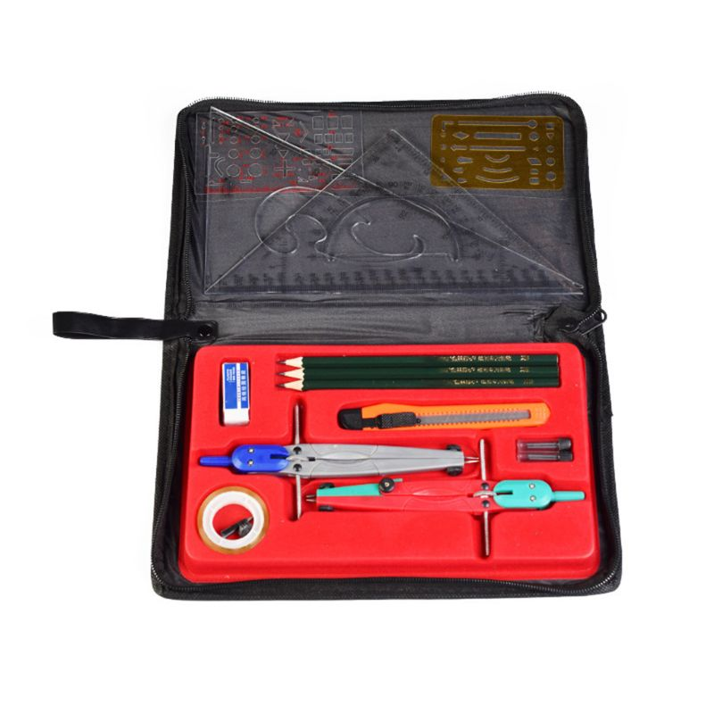 Drawing Compass Drafting Tool Set Ruler Pencil Eraser Math Student School Supply Random Delivery