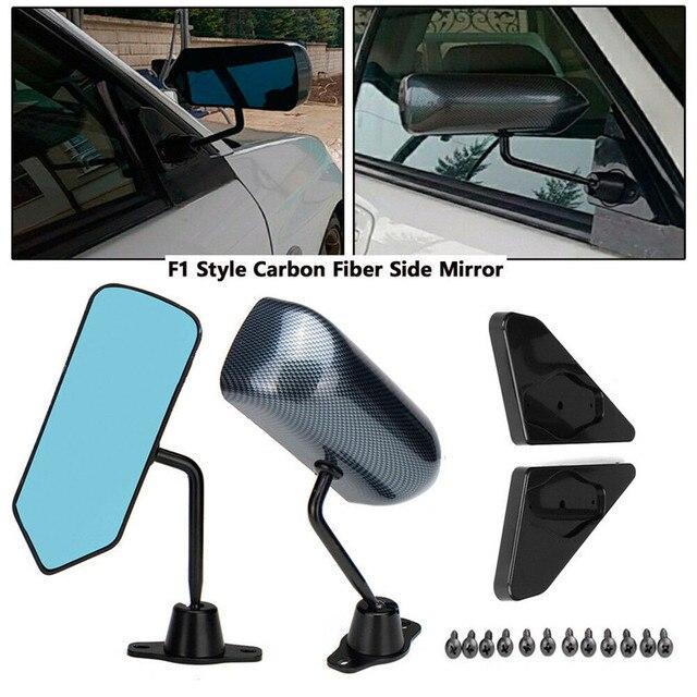 Левое + правое боковое зеркало из углеродного волокна в стиле F1 с синей зеркальной поверхностью и треугольником