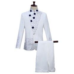 Boutique mens retro tunic suit set two-piece ball suit Chinese dress inlaid blue diamond mens collar white suit (coat + pant)