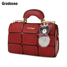Gradosoo Boston Women Handbag Luxury Top-Handle Bag Female Plaid Design Shoulder Bags For Brand Tote Ladies New HMB636