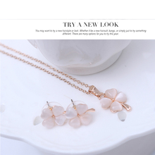 цена на 2 Piece Set Pink  Sakura Flower Drop Dangle Earrings Pendant Necklace Rose Flower Shape Rose Gold Chain Jewelry Gift for Women