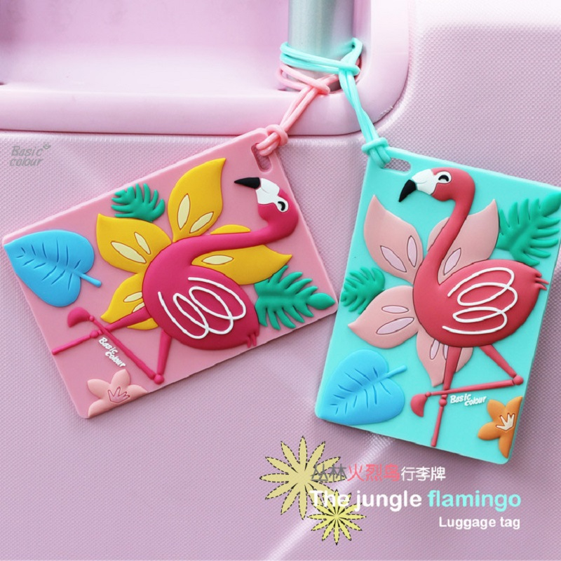 Cartoon Animal Travel Accessories Flamingo Luggage Tag Silicone Suitcase ID Address Holder Baggage Boarding Tag Label