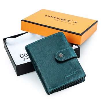 Contact's Genuine Leather Wallets Women Men Wallet Short Small Rfid Card Holder Wallets Ladies Red Coin Purse Portfel Damski 16
