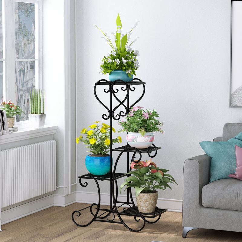 Metal Plant Shelf Flower Display Stand Garden Planter Holder with 4 Tier Shelves Indoor (Black)