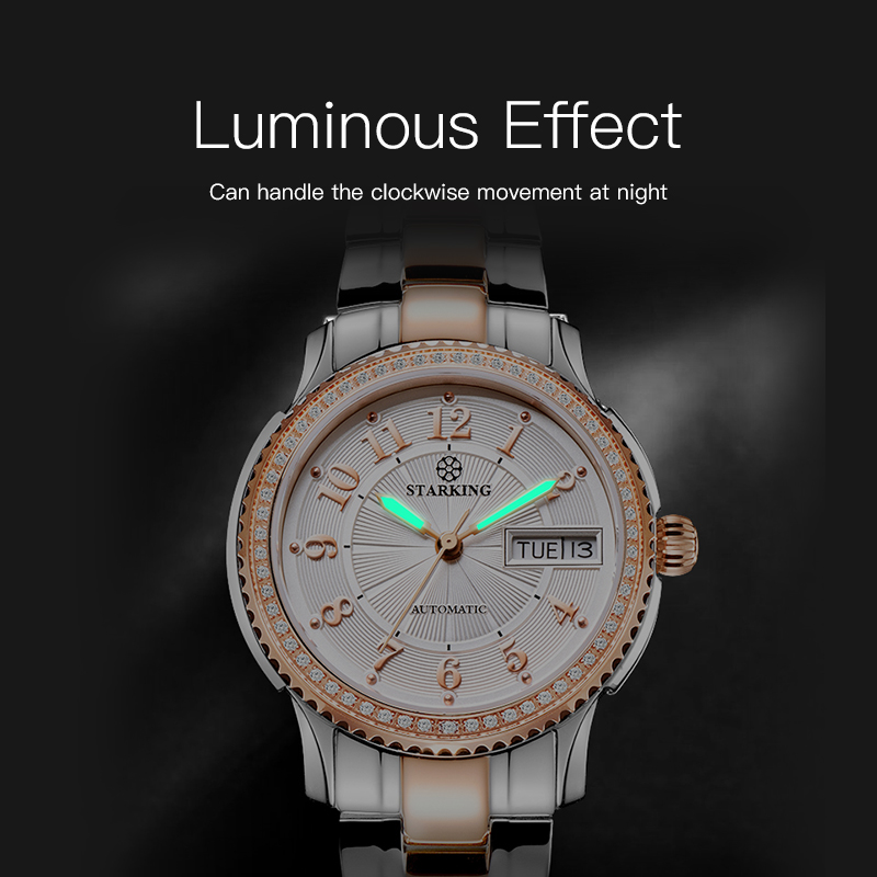 STARKING Women Mechanical Watch Miyota Movt Stainless Steel Wristwatch Sapphire Automatic Self-wind Bracelet Relogios Femininos