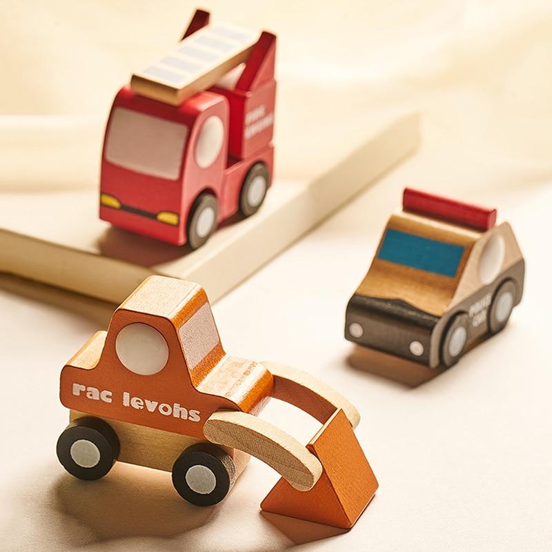 Mini coche de madera Montessori para niños, juguete educativo de madera con modelos de camionetas y aviones, vehículo colorido, regalo de decoración